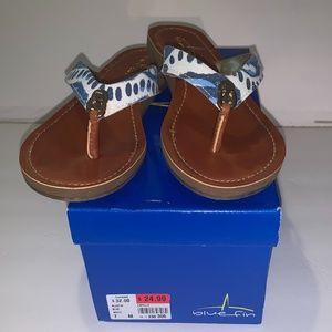 Bluefin Capella Blue White Flip Flop Sandals 7